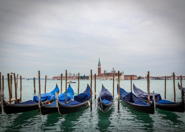 Gondolas in the Giudecca Canal, Venice