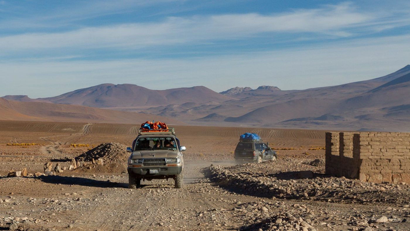 Landcruiser arriving at Refugio Laguna Colorada, Bolivia
