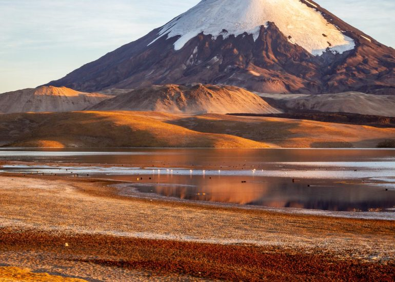 Lago Chungara and volcano Parinacota