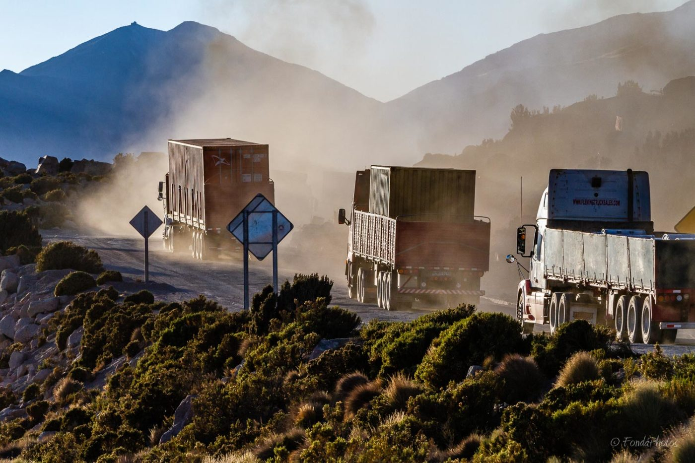 Trucks on Route 11 towards Bolivia