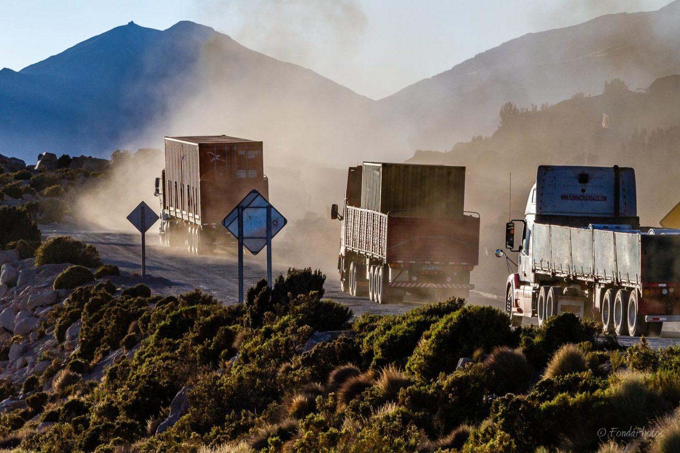 Trucks on Route 11 towards Bolivia