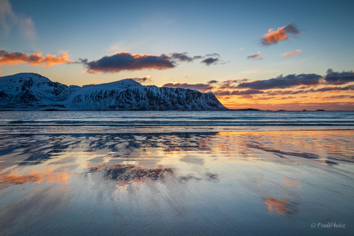 Ramberg beach, sunset reflection