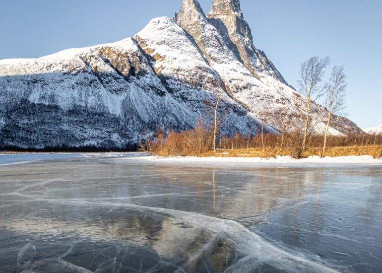 Frozen lake in northern Norway