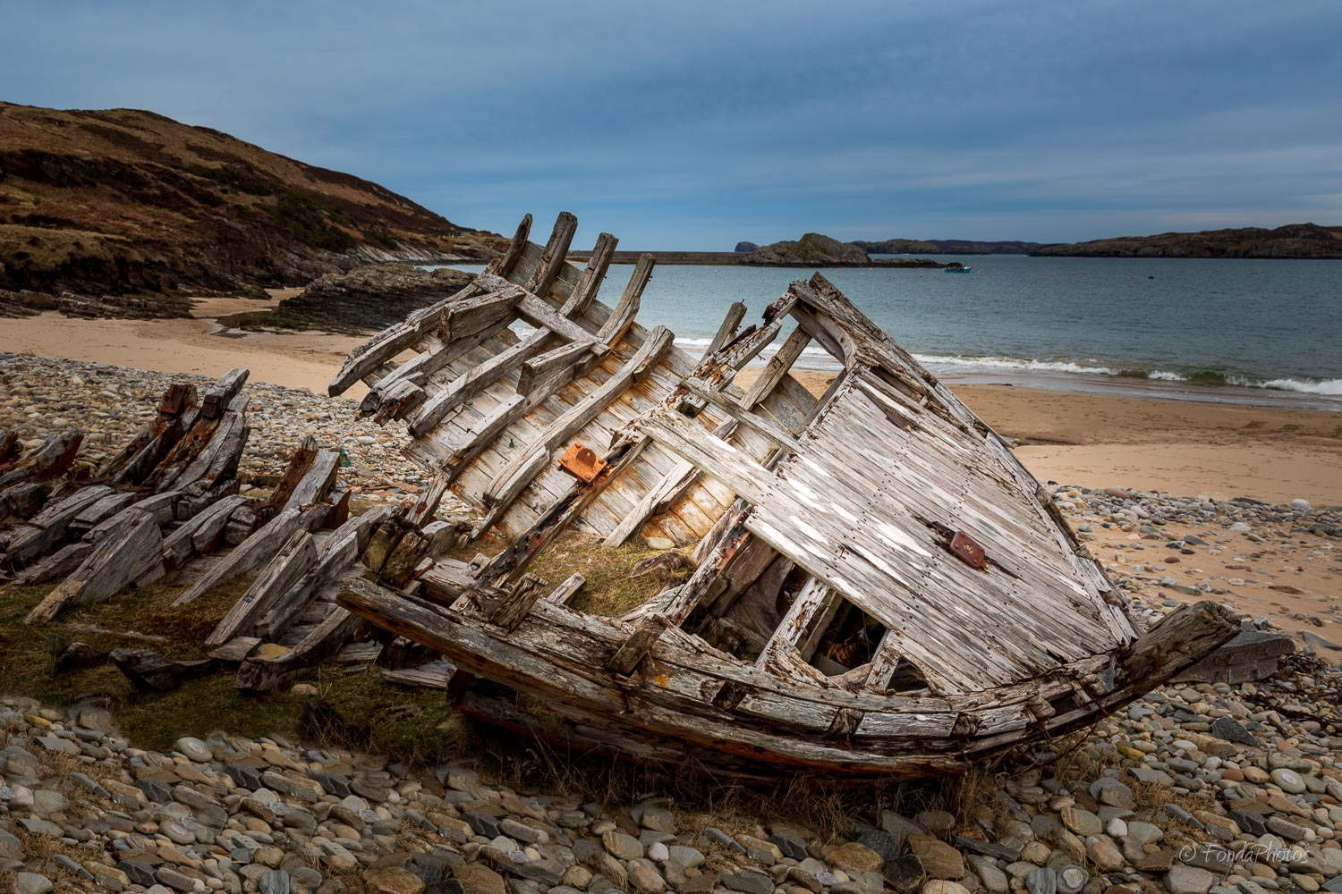 Old wooden shipwreck, Talmine beach